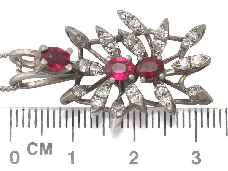 0.88 Carat Ruby and 0.69 Carat Diamond, White Gold Pendant 6