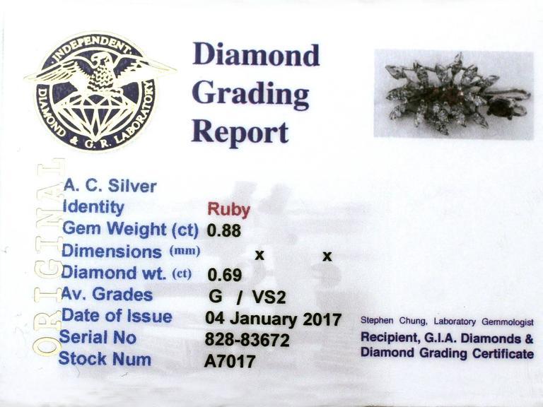 0.88 Carat Ruby and 0.69 Carat Diamond, White Gold Pendant 7