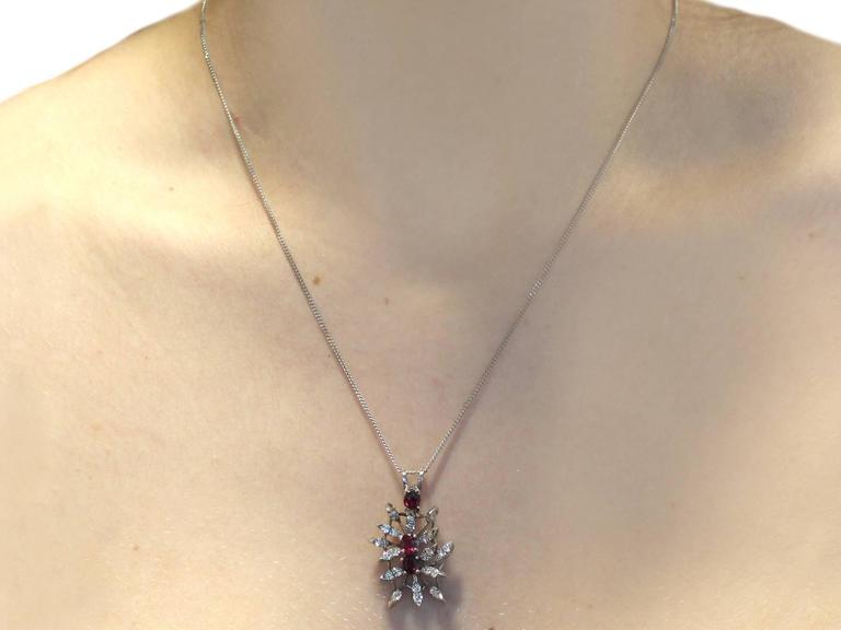 0.88 Carat Ruby and 0.69 Carat Diamond, White Gold Pendant 8