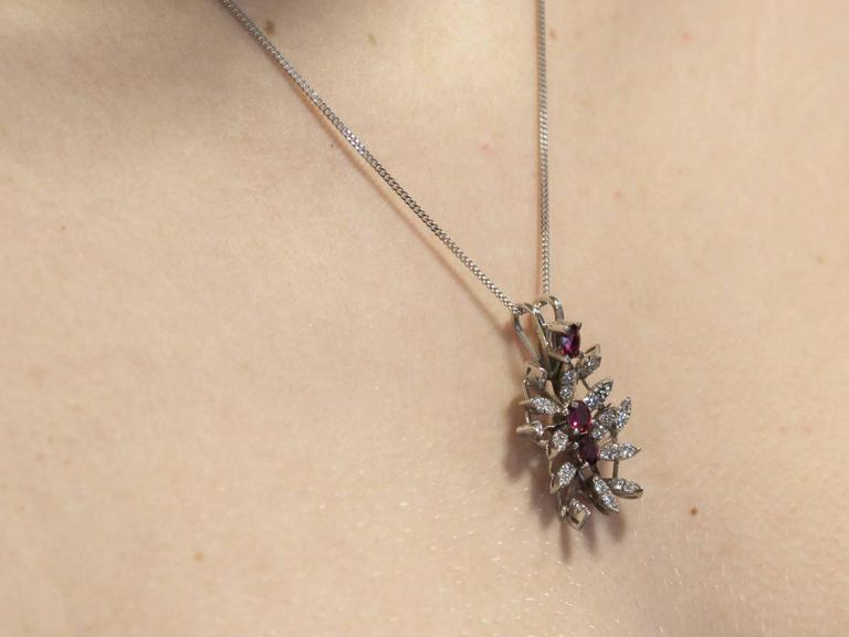 0.88 Carat Ruby and 0.69 Carat Diamond, White Gold Pendant For Sale 5