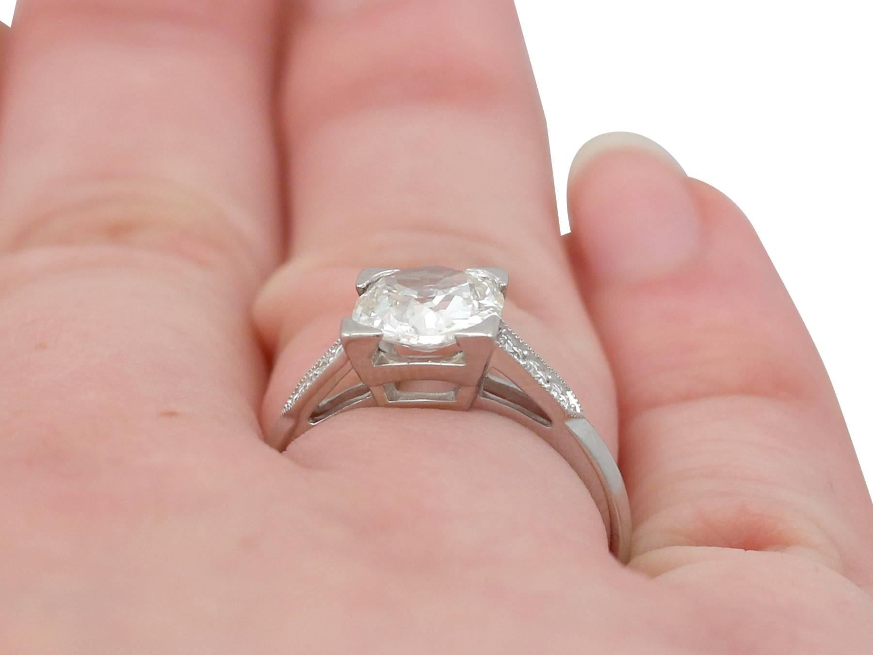 1.74 Carat Diamond and Platinum Solitaire Ring For Sale at 1stdibs