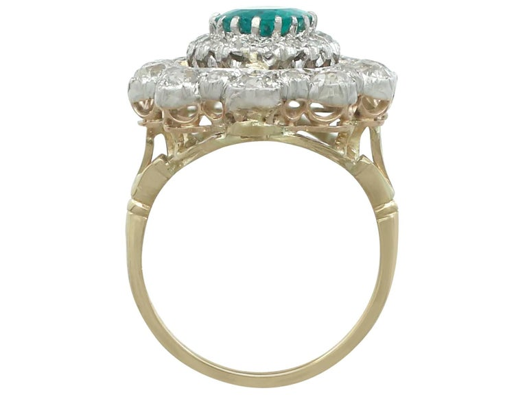 1930s 3.12 Carat Emerald and 3.15 Carat Diamond Yellow Gold Cocktail Ring For Sale 1