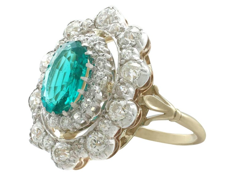 Women's 1930s 3.12 Carat Emerald and 3.15 Carat Diamond Yellow Gold Cocktail Ring For Sale