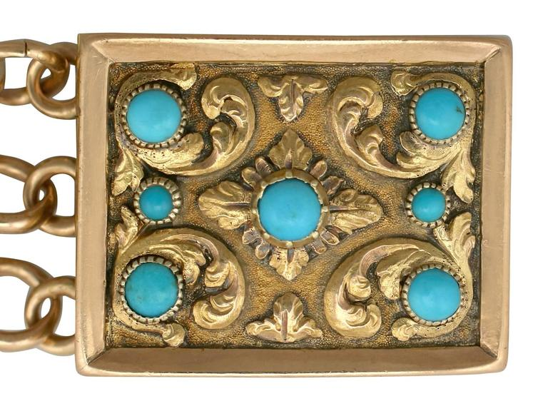 Antique Turquoise and Yellow Gold Mourning Locket Bracelet, 1920s In Excellent Condition For Sale In Jesmond, GB