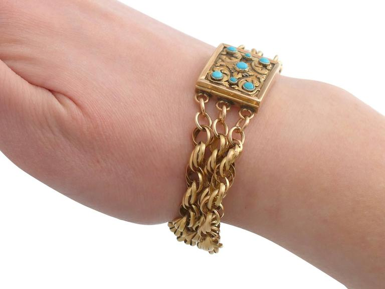Antique Turquoise and Yellow Gold Mourning Locket Bracelet, 1920s For Sale 5