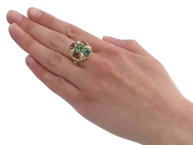 1960s Peridot, Citrine, Garnet, Amethyst, Tourmaline and Yellow Gold Ring For Sale 5