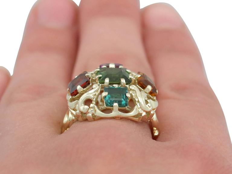 1960s Peridot, Citrine, Garnet, Amethyst, Tourmaline and Yellow Gold Ring For Sale 6