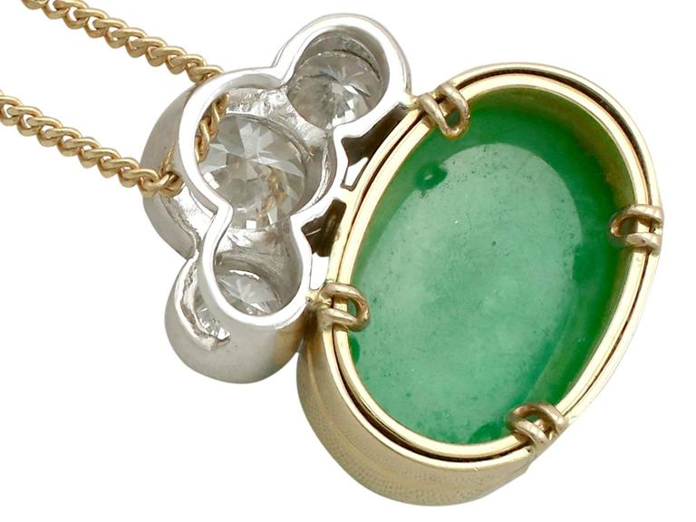 1980s 405 carat nephrite jade and diamond yellow and white gold 1980s 405 carat nephrite jade and diamond yellow and white gold pendant for sale 1 aloadofball Choice Image