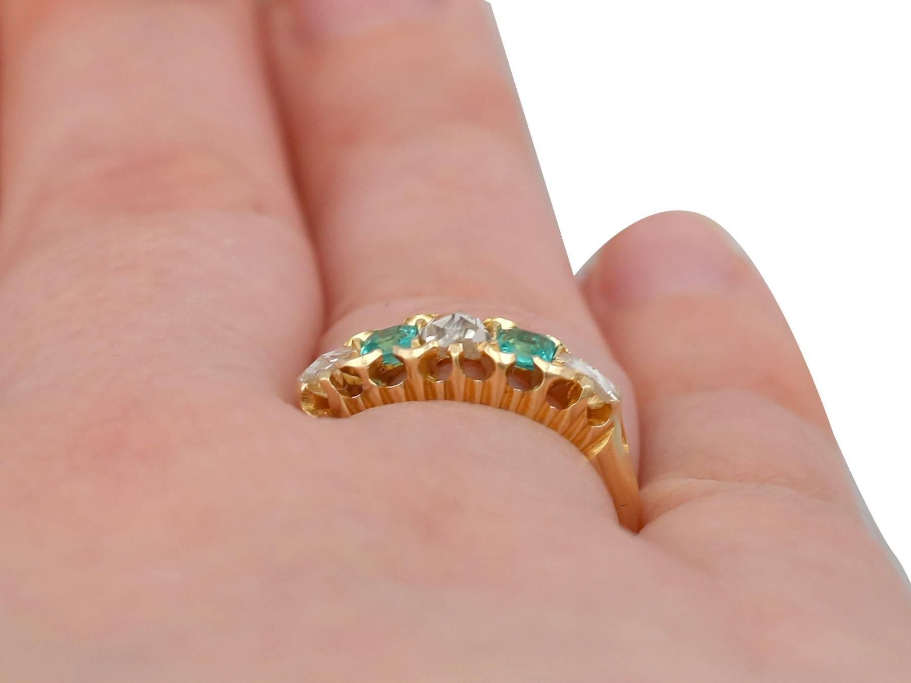 1890s Antique Victorian Diamond and Emerald Yellow Gold Ring at 1stdibs
