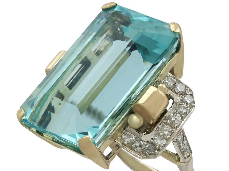 Art Deco 1950s 28.80 Carat Aquamarine and Diamond Yellow and White Gold Cocktail Ring For Sale