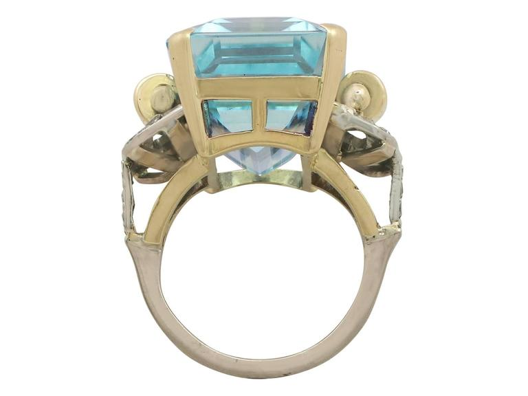 Women's or Men's 1950s 28.80 Carat Aquamarine and Diamond Yellow and White Gold Cocktail Ring For Sale
