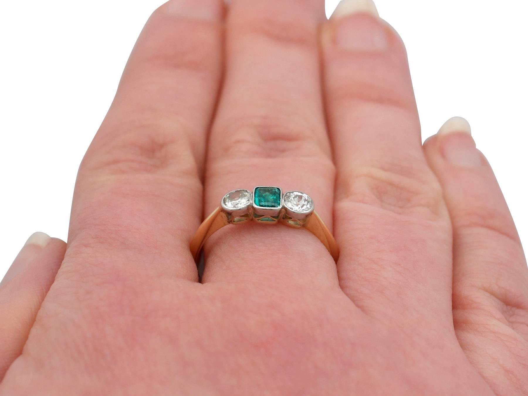 1920s Emerald and Diamond Yellow Gold Trilogy Ring at 1stdibs