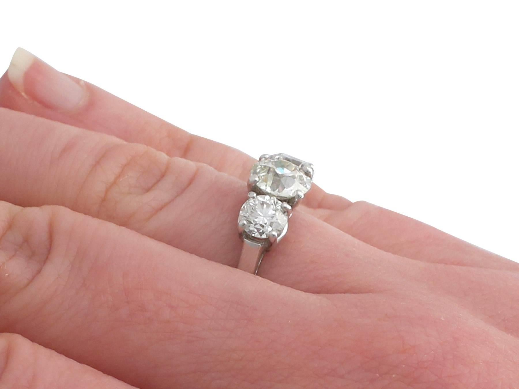 1980s 2.65 Carat Diamond and Platinum Trilogy Ring For Sale at 1stdibs