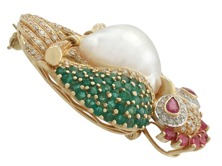 Women's or Men's 1980s Pearl 1.76 Carat Ruby 1.30 Carat Emerald & 1.15 Carat Diamond Gold Brooch For Sale