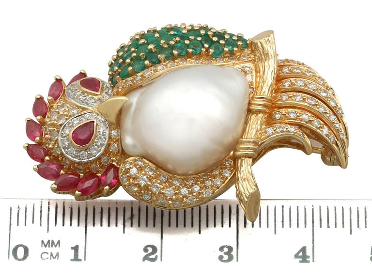 1980s Pearl 1.76 Carat Ruby 1.30 Carat Emerald & 1.15 Carat Diamond Gold Brooch For Sale 3