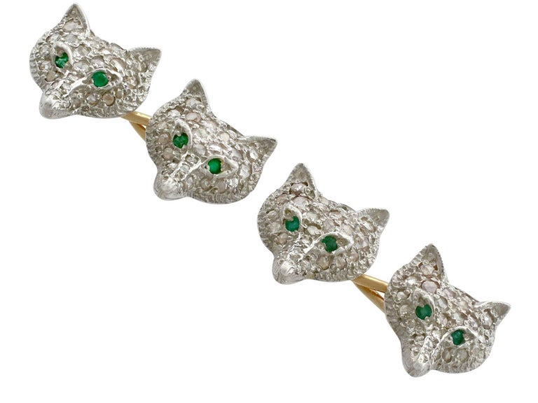 An impressive pair of contemporary 0.58 carat diamond and 0.08 carat emerald, silver gilt 'fox head' cufflinks; part of our diverse men's jewellery collections.  These fine and impressive fox head cufflinks have been crafted in silver.  Each link