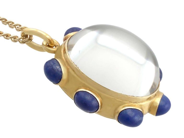 1890s Rock Crystal Lapis Lazuli 18 Karat Yellow Gold Pendant by 'Garrard' In Excellent Condition For Sale In Jesmond, GB