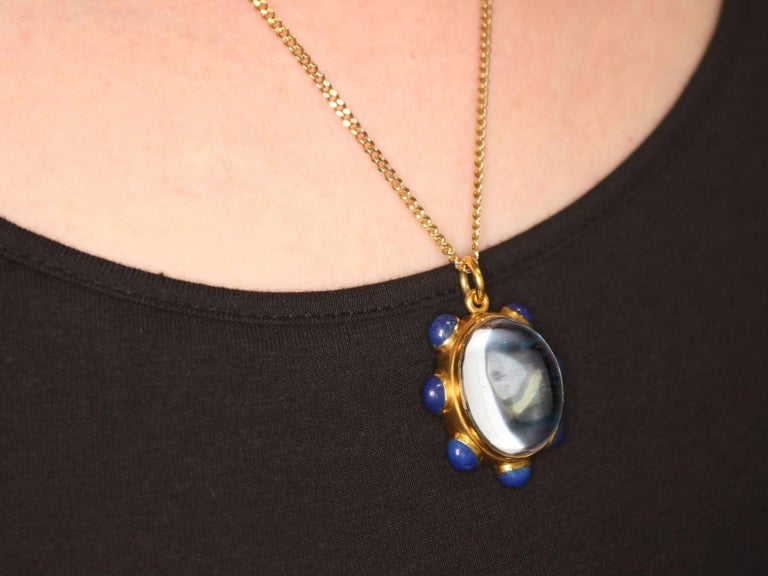 1890s Rock Crystal Lapis Lazuli 18 Karat Yellow Gold Pendant by 'Garrard' For Sale 5