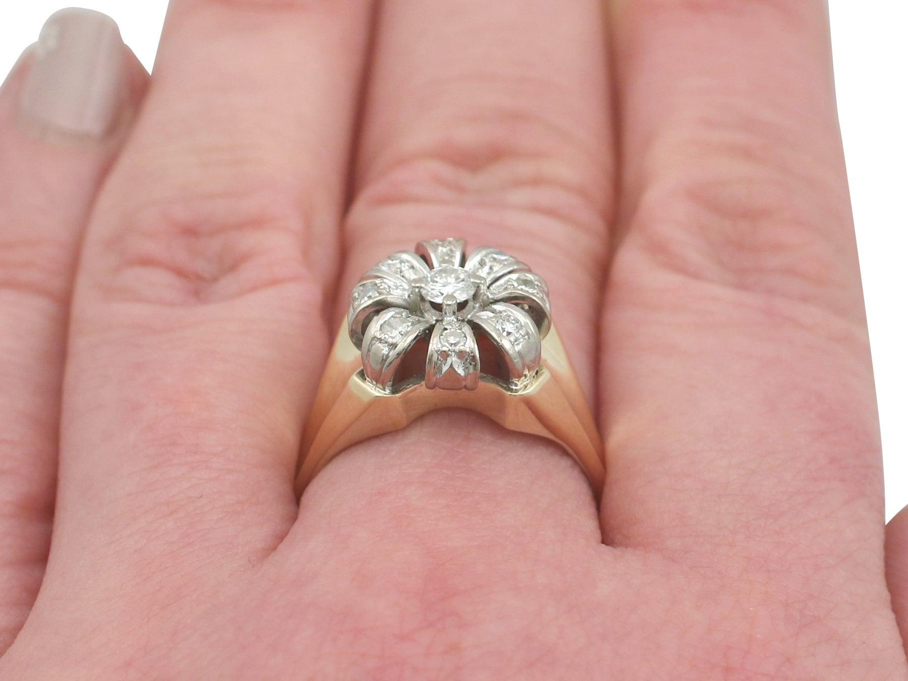 1950s 0.41 Carat Diamond 14 Karat Yellow Gold Cluster Ring For Sale ...