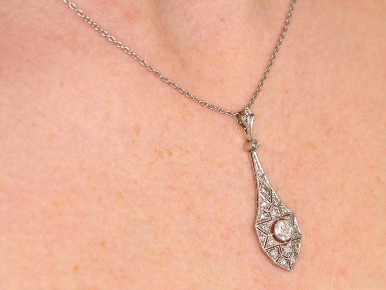 1920s Art Deco 0.94 Carat Diamond 18 Karat White Gold Pendant 9
