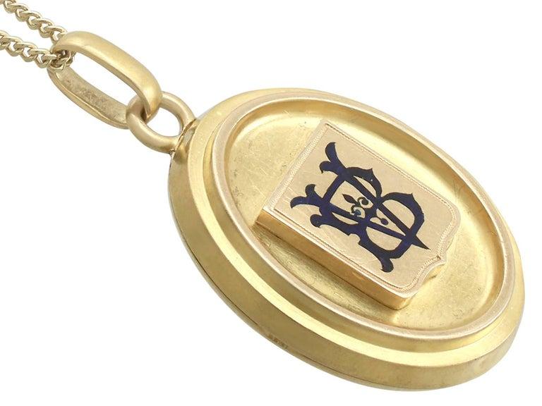 Victorian Blue Enamel Yellow Gold Locket 3