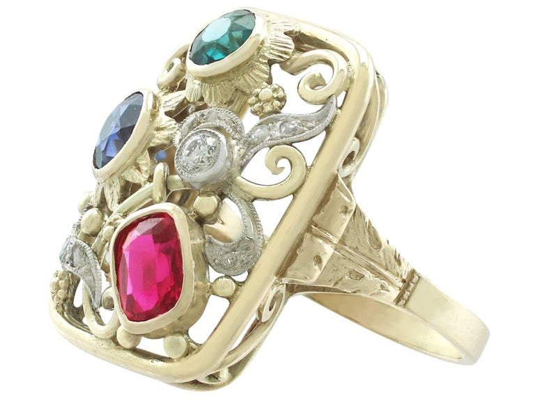 Synthetic Ruby Sapphire 0.48 Carat Zircon Diamond 14 Karat Gold Cocktail Ring 4