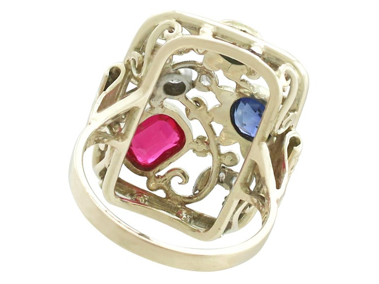Synthetic Ruby Sapphire 0.48 Carat Zircon Diamond 14 Karat Gold Cocktail Ring For Sale 1