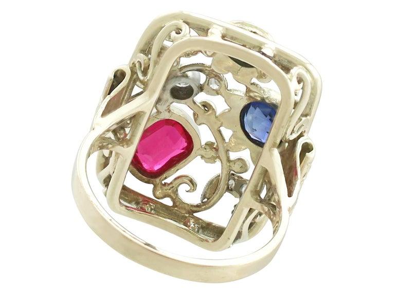Synthetic Ruby Sapphire 0.48 Carat Zircon Diamond 14 Karat Gold Cocktail Ring 5