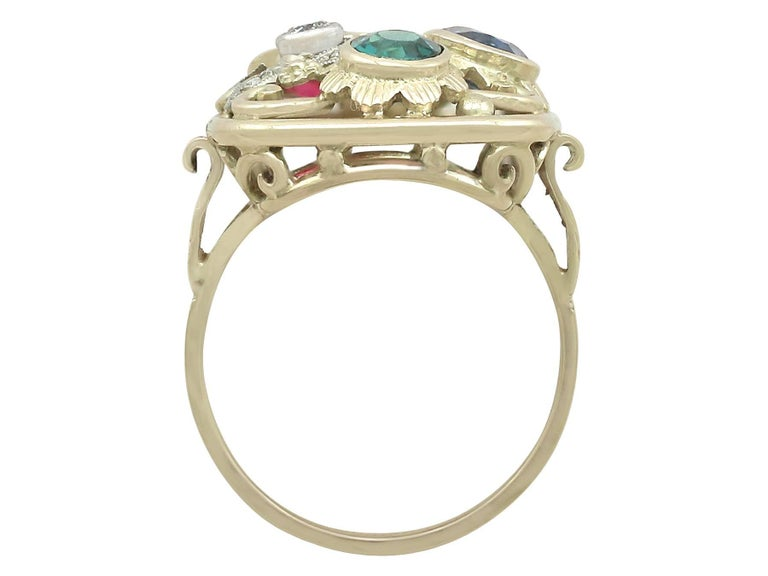 Synthetic Ruby Sapphire 0.48 Carat Zircon Diamond 14 Karat Gold Cocktail Ring For Sale 2