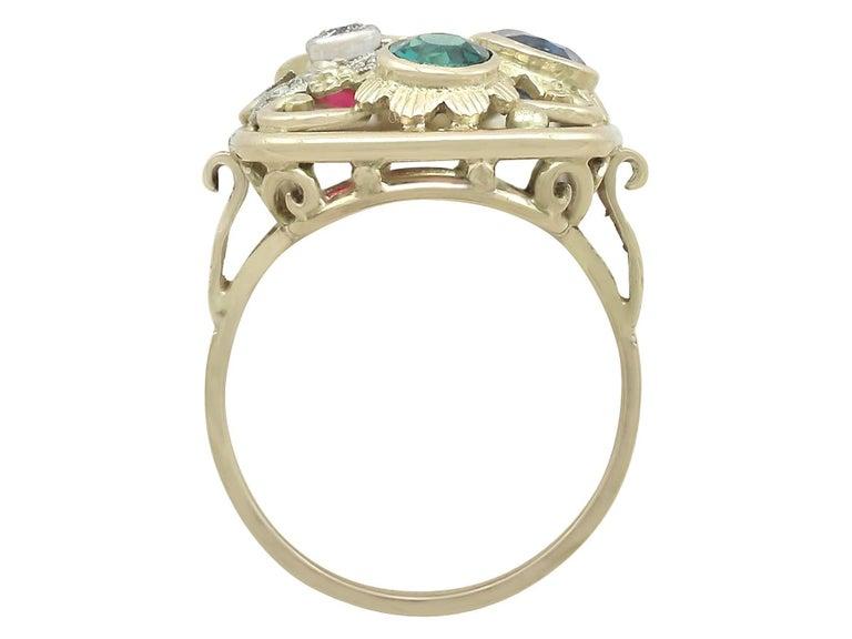 Synthetic Ruby Sapphire 0.48 Carat Zircon Diamond 14 Karat Gold Cocktail Ring 6