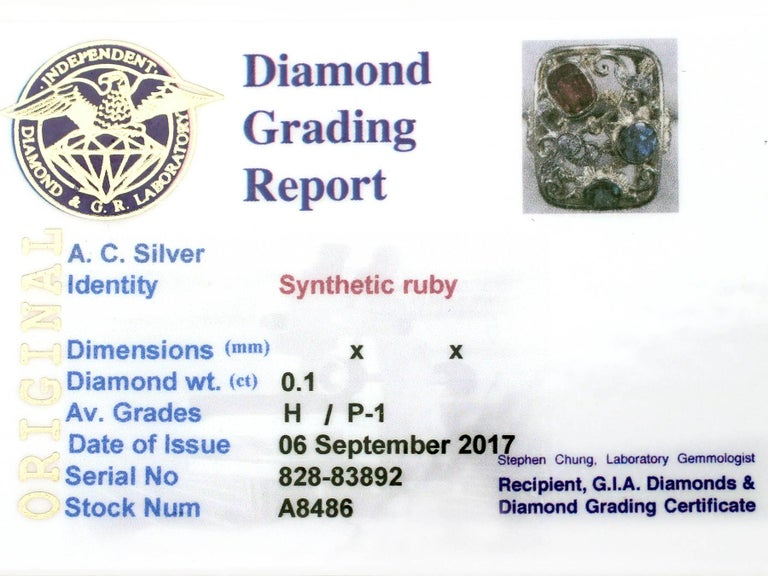 Synthetic Ruby Sapphire 0.48 Carat Zircon Diamond 14 Karat Gold Cocktail Ring For Sale 3