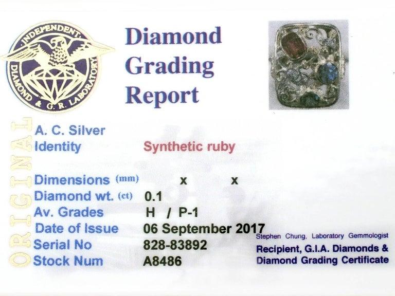 Synthetic Ruby Sapphire 0.48 Carat Zircon Diamond 14 Karat Gold Cocktail Ring 7