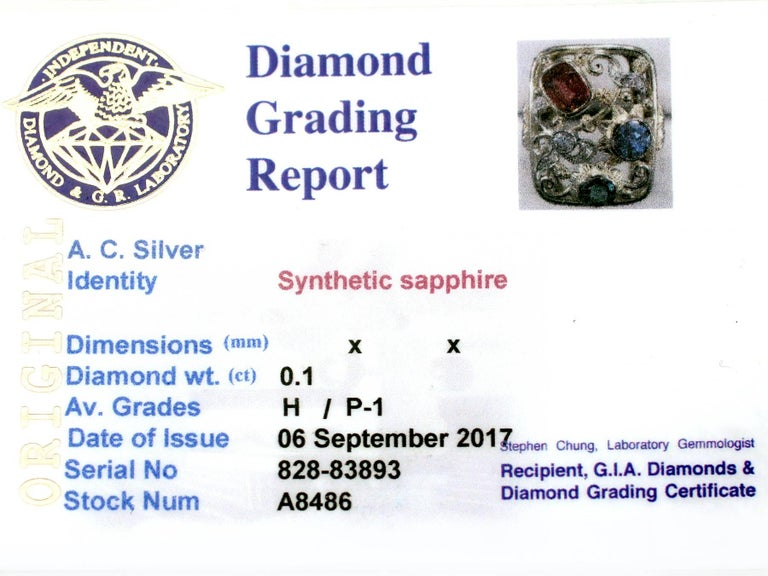 Synthetic Ruby Sapphire 0.48 Carat Zircon Diamond 14 Karat Gold Cocktail Ring 8