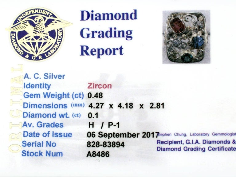 Synthetic Ruby Sapphire 0.48 Carat Zircon Diamond 14 Karat Gold Cocktail Ring 9