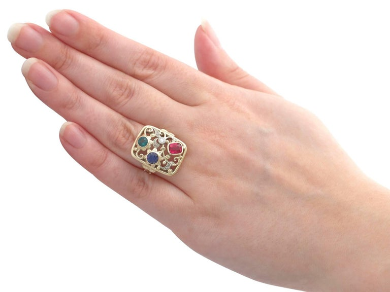 Synthetic Ruby Sapphire 0.48 Carat Zircon Diamond 14 Karat Gold Cocktail Ring For Sale 6