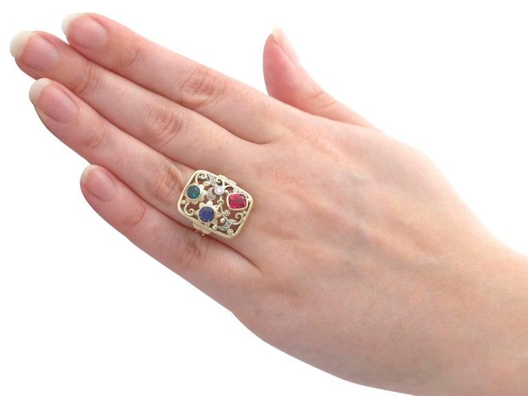 Synthetic Ruby Sapphire 0.48 Carat Zircon Diamond 14 Karat Gold Cocktail Ring 10