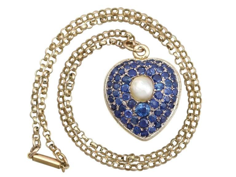Antique Pearl and 3.49 Carat Sapphire 18 Karat Yellow Gold Heart Locket 2