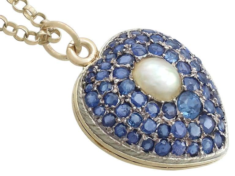 Antique Pearl and 3.49 Carat Sapphire 18 Karat Yellow Gold Heart Locket 3