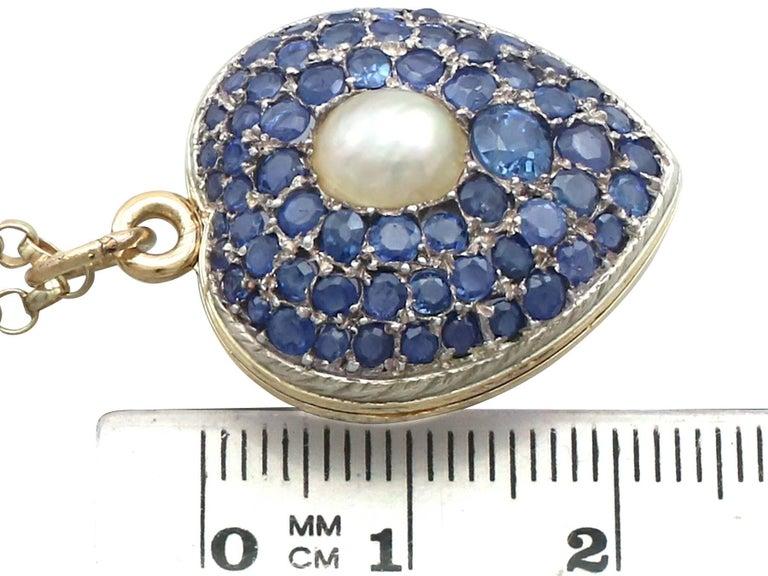 Antique Pearl and 3.49 Carat Sapphire 18 Karat Yellow Gold Heart Locket 6