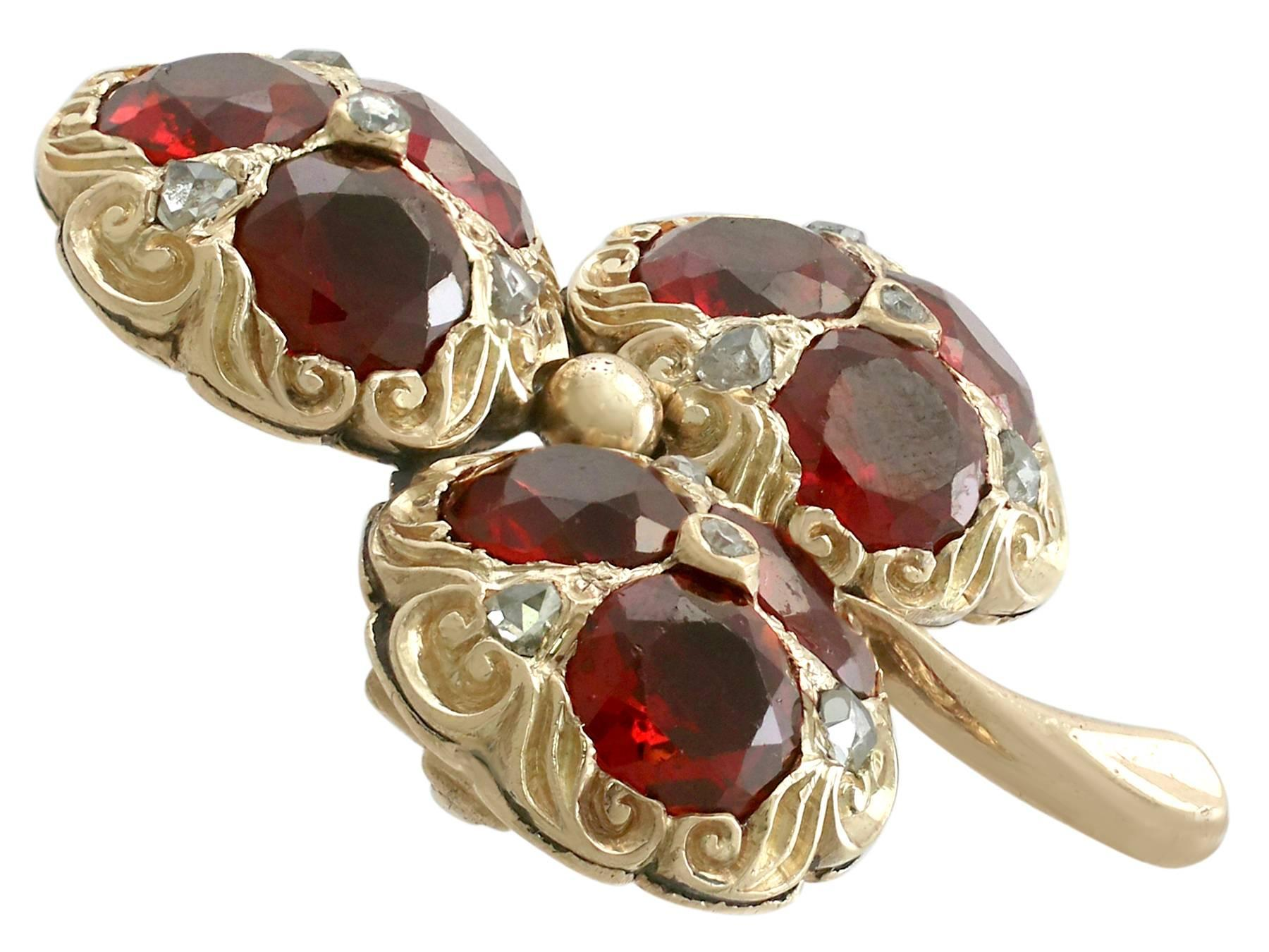 Victorian 5.20 Ct Garnet 0.11 Ct Diamond 15k Yellow Gold Clover Brooch In Many Styles Fine Jewelry Fine Pins & Brooches