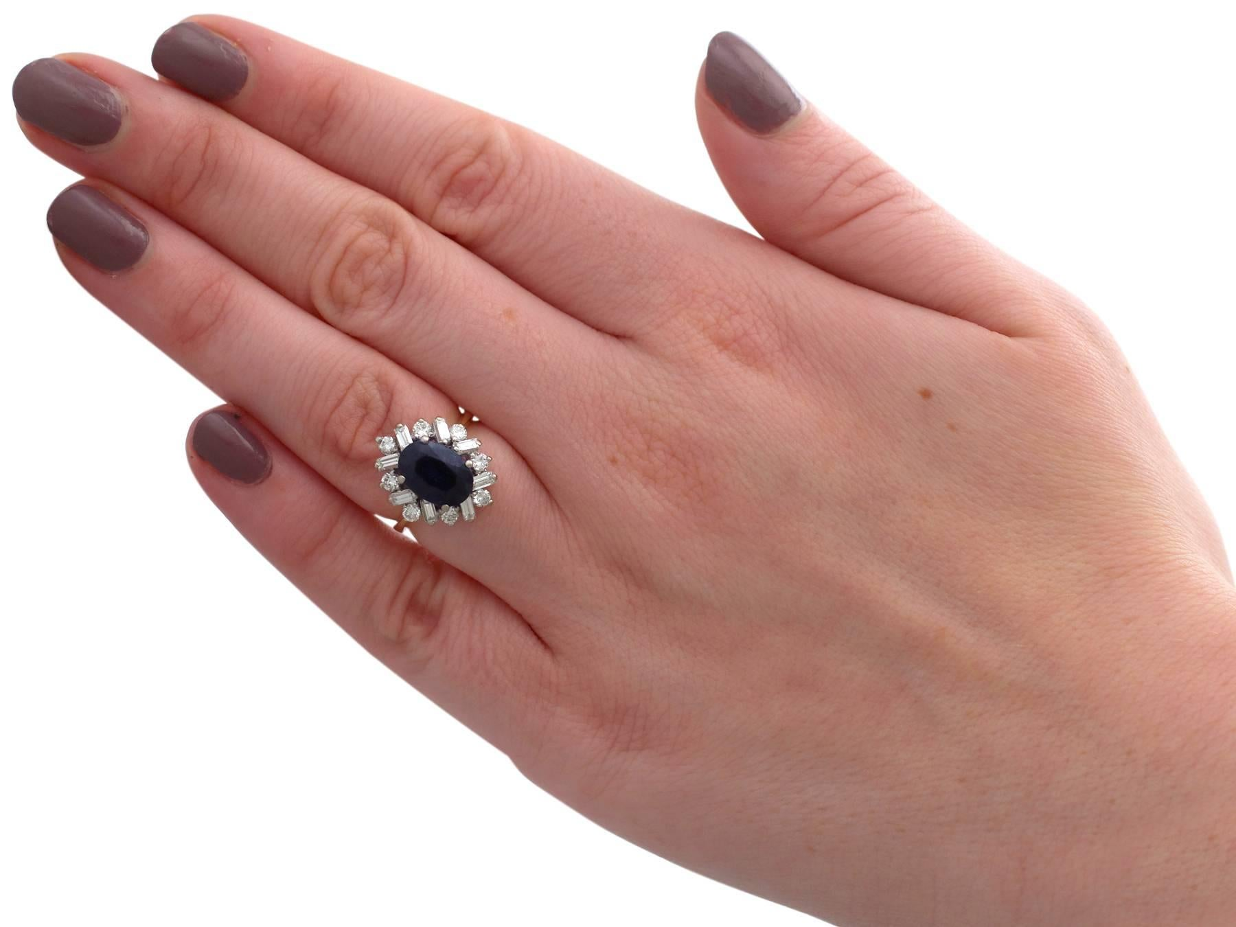 1980s 2.95 Carat Sapphire 0.72 18 Karat Yellow Gold Cluster Ring For ...