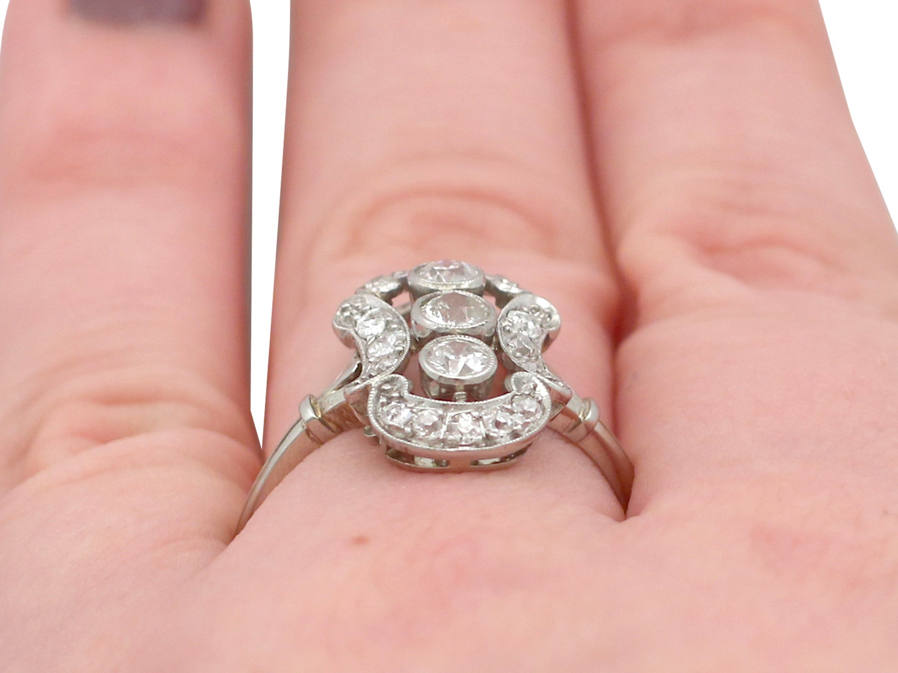 1920s Diamond 14 Karat White Gold Dress Ring For Sale at 1stdibs