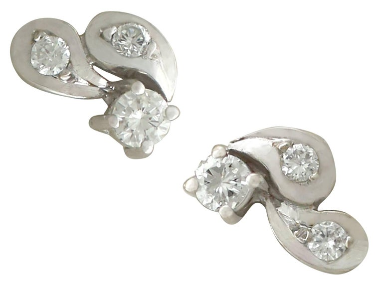 An impressive pair of vintage European 0.33 carat diamond and 18 carat white gold stud earrings; part of our diverse vintage jewellery and estate jewelry collections.  These fine and impressive vintage diamond stud earrings have been crafted in 18k