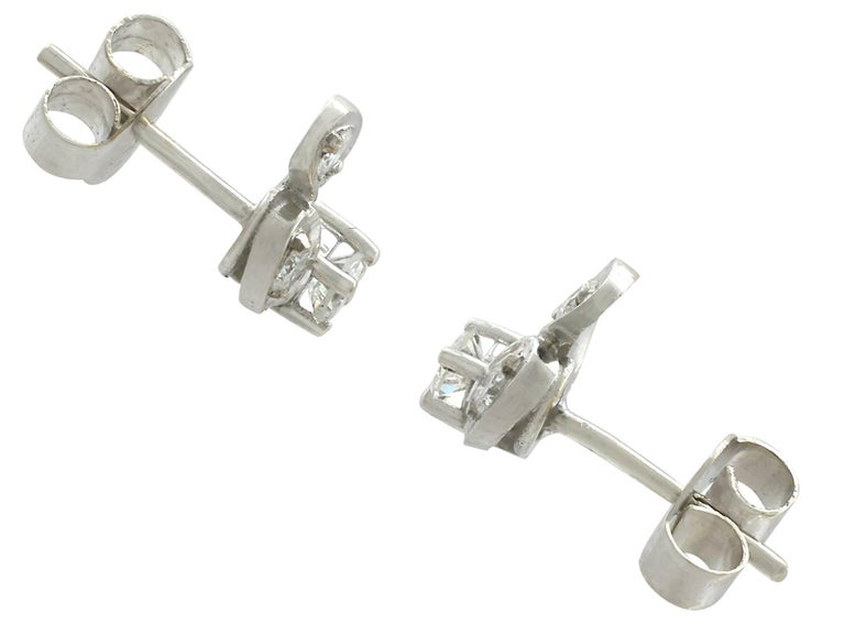 Women's 1970s Diamond and 18 Karat White Gold Stud Earrings For Sale