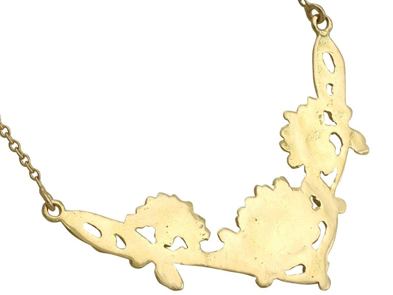 1920s Antique French Yellow Gold Necklace For Sale 1