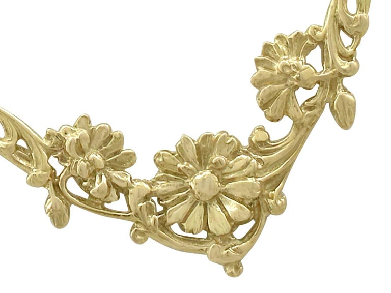 1920s Antique French Yellow Gold Necklace For Sale 2