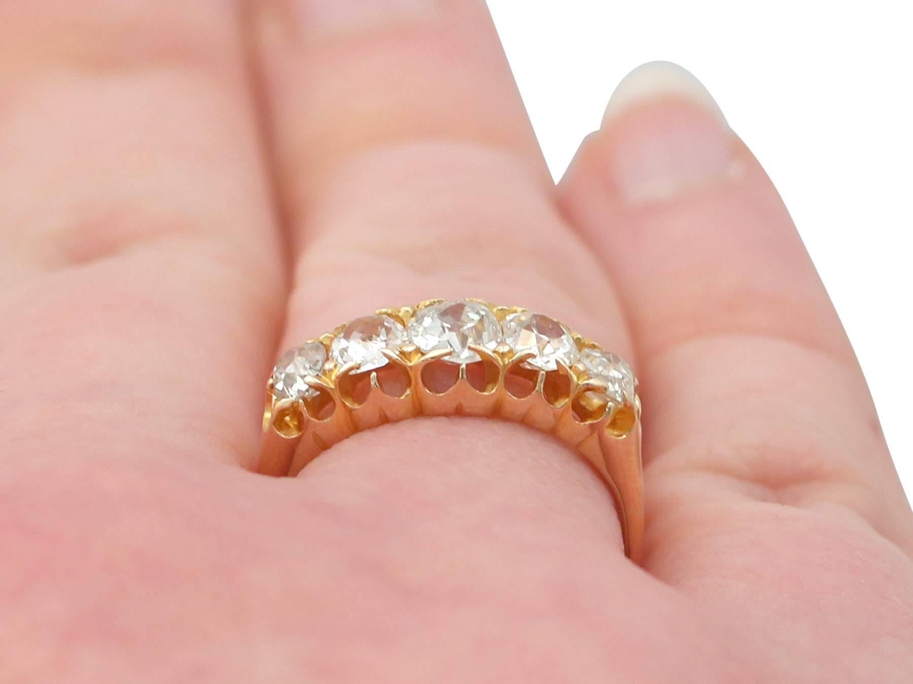 1858 Antique 1.51 Carat Diamond and Yellow Gold Five-Stone Ring For ...