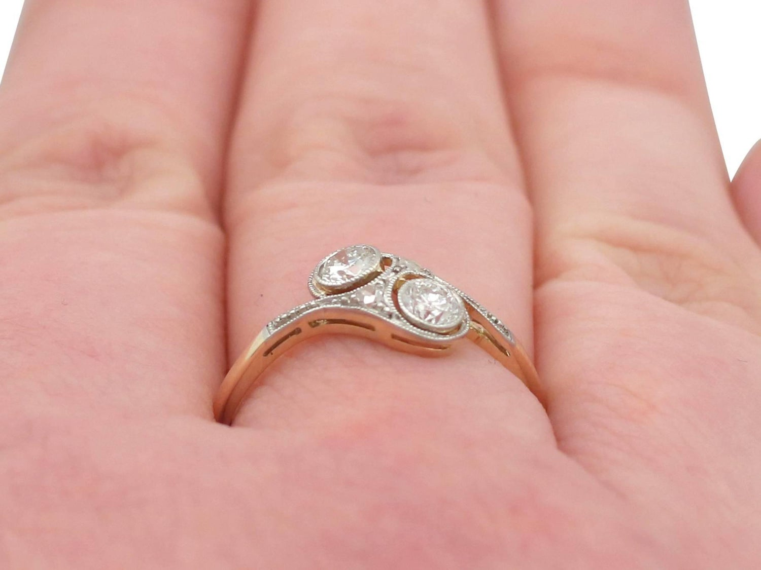 1920s Diamond and 14 Karat Yellow Gold Twist Ring For Sale at 1stdibs