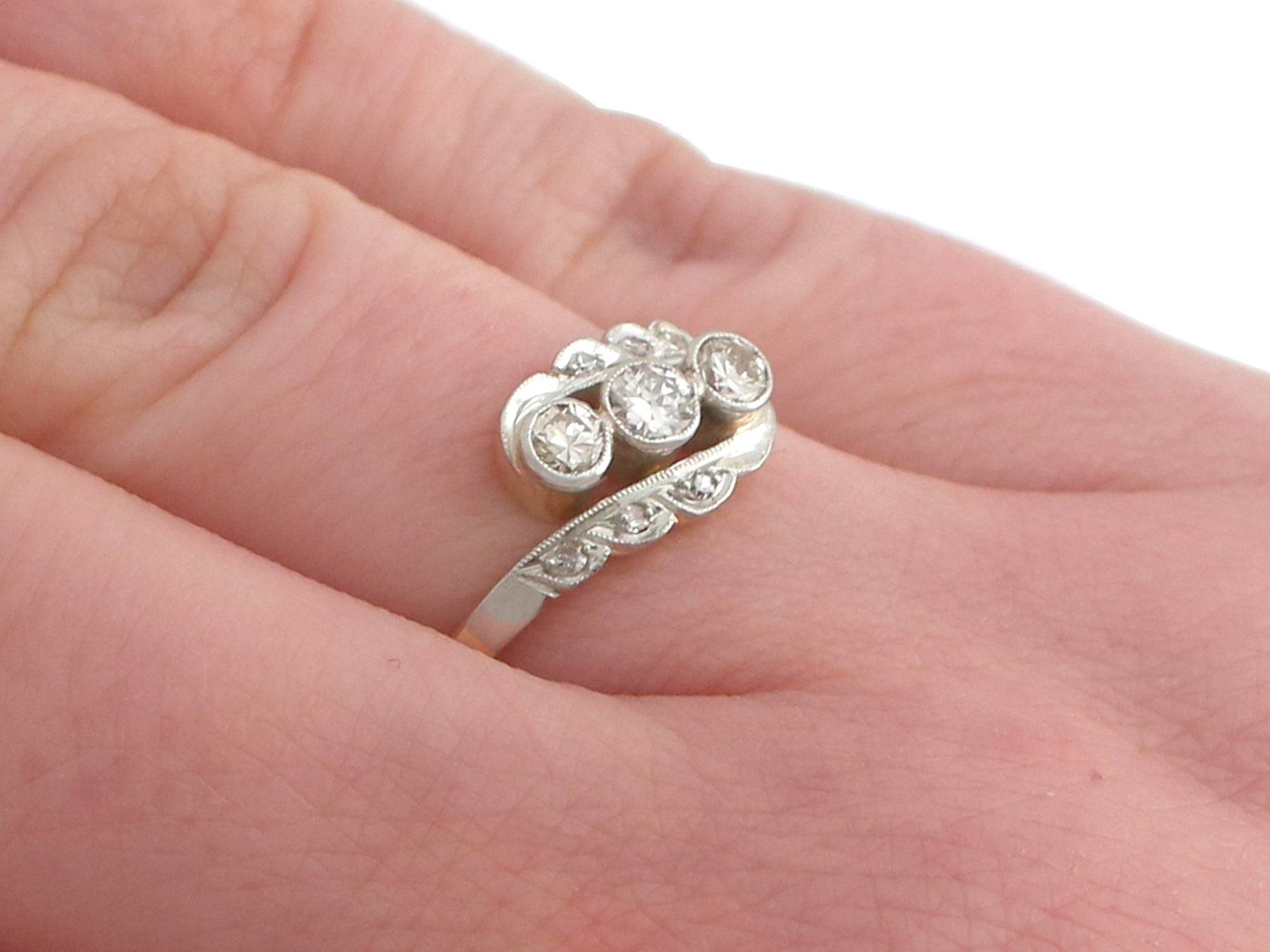 1930s Diamond and 14 Karat Yellow Gold Dress Ring For Sale at 1stdibs
