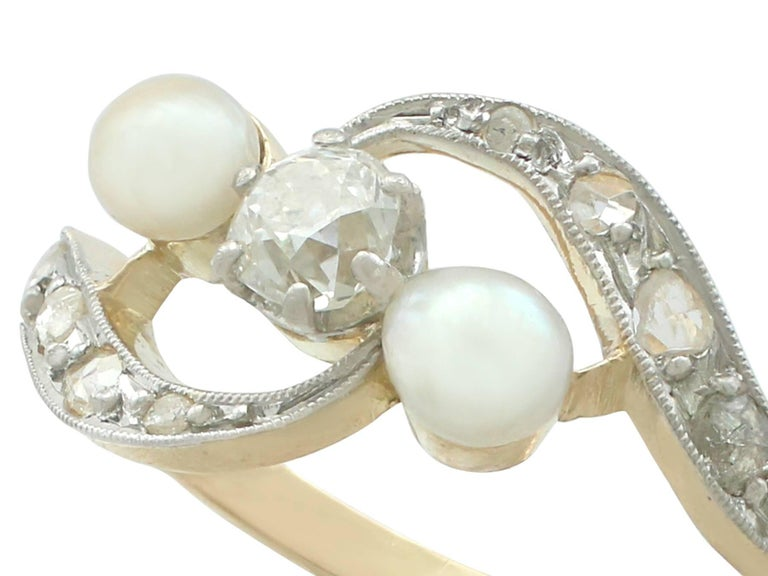 Round Cut 1920s Antique Pearl and Diamond Yellow Gold Twist Ring For Sale